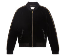 Watersnake, Lurex And Chenille-trimmed Velvet Bomber Jacket