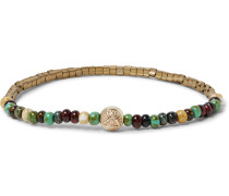Glass, Gold And Hematite Bead Bracelet