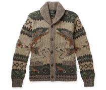 Shawl-collar Intarsia Wool-blend Cardigan