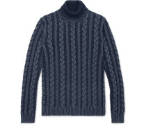 Cable-knit Merino Wool Rollneck Sweater