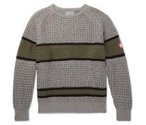 Striped Waffle-knit Cotton Sweater - Gray