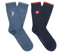 Two-Pack Embroidered Stretch Cotton-Blend Socks