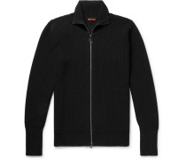 Ribbed Virgin Wool Zip-up Cardigan - Black