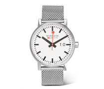 Evo Big Date Brushed Stainless Steel Watch - Silver