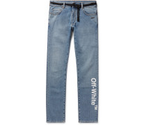 Skinny-fit Printed Stretch-denim Jeans - Blue