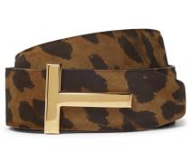 4cm Reversible Leopard-print Nubuck Belt - Brown