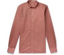 Slim-fit Garment-dyed Cotton Shirt - Pink