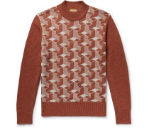 Jacquard Wool Mock-neck Sweater - Brown