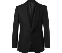 Black Slim-fit Wool And Mohair-blend Tuxedo Jacket - Black