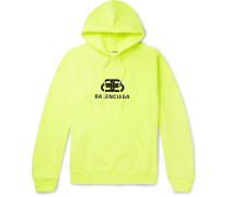 Logo-print Neon Loopback Cotton-jersey Hoodie - Yellow