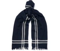 Fringed Striped Merino Wool Scarf - Navy