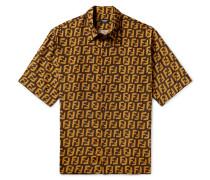 Logo-print Woven Shirt - Dark brown