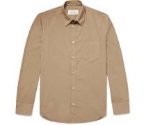 Slim-fit Garment-dyed Cotton-poplin Shirt - Beige