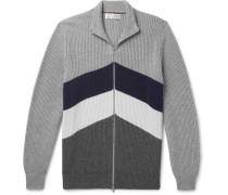 Slim-fit Chevron Ribbed Cashmere Zip-up Cardigan