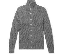 Stark Waffle-knit Mélange Wool Cardigan - Dark gray