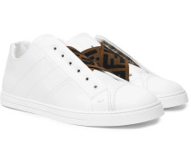 Reloaded Logo-trimmed Full-grain And Smooth Leather Slip-on Sneakers - White