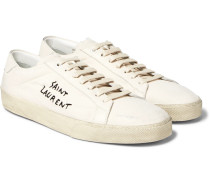 Sl/06 Court Classic Distressed Leather-trimmed Embroidered Canvas Sneakers