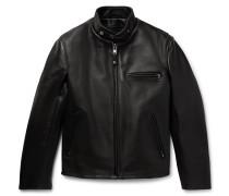 Faux Fur-Lined Leather Café Racer Jacket