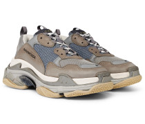 Triple S Mesh, Nubuck And Leather Sneakers