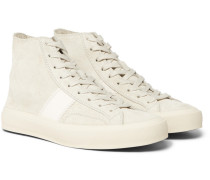 Cambridge Leather-trimmed Suede High-top Sneakers - Off-white