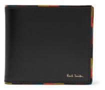 Stripe-Trimmed Leather Billfold Wallet
