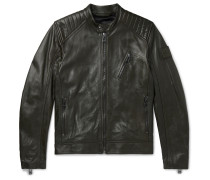 V Racer Slim-Fit Leather Biker Jacket