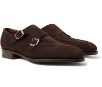 Fulham Suede Monk-strap Shoes - Dark brown