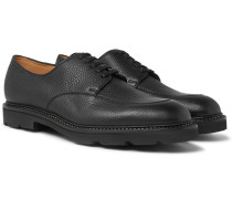 Sentry Pebble-grain Leather Derby Shoes - Black