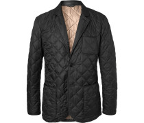 Leather-Trimmed Quilted Shell Blazer