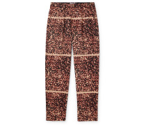 Noise Pleated Printed Cotton Trousers