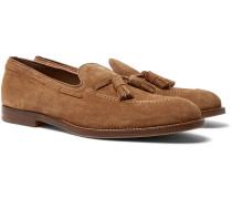 Suede Tasselled Loafers - Tan