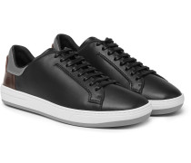 Outline Leather Sneakers - Black
