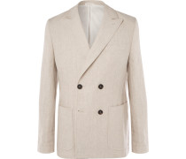 Double-Breasted Linen Suit Jacket