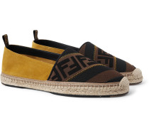 Logo-jacquard Webbing And Suede Espadrilles - Brown