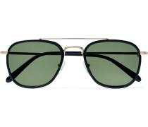 Macher Round-Frame Acetate and Gold-Tone Sunglasses
