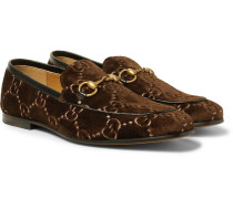 Horsebit Leather-trimmed Logo-embroidered Velvet Loafers - Dark brown