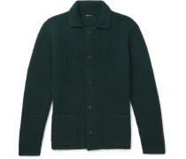 Waffle-knit Cashmere Cardigan - Green