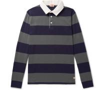 Striped Cotton-jersey Polo Shirt - Gray