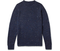 Mélange Virgin Wool And Cashmere-blend Sweater - Navy