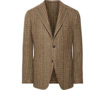 Brown Slim-fit Houndstooth Wool-tweed Blazer - Brown