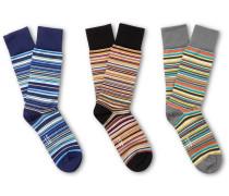 Three-pack Striped Stretch Cotton-blend Socks - Multi