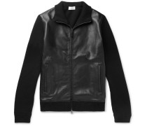 Leather-panelled Wool And Cashmere-blend Zip-up Cardigan