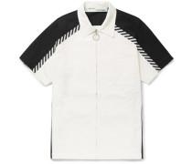 Grosgrain-trimmed Printed Cotton-poplin Zip-up Shirt - White