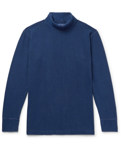 Indigo-dyed Stretch-cotton Rollneck T-shirt