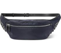 Leather-trimmed Ripstop Belt Bag - Navy