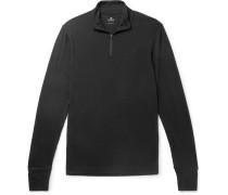 Slim-fit Merino Wool Half-zip Sweater - Black