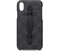 Leather-trimmed Monogrammed Coated-canvas Iphone X Case - Black