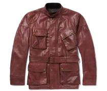 Panther Slim-fit Belted Leather Jacket - Red