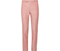 Coral Hyde Slim-fit Linen Suit Trousers - Coral