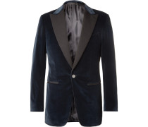 Midnight-blue Dundee Slim-fit Grosgrain-trimmed Stretch-cotton Velvet Blazer
